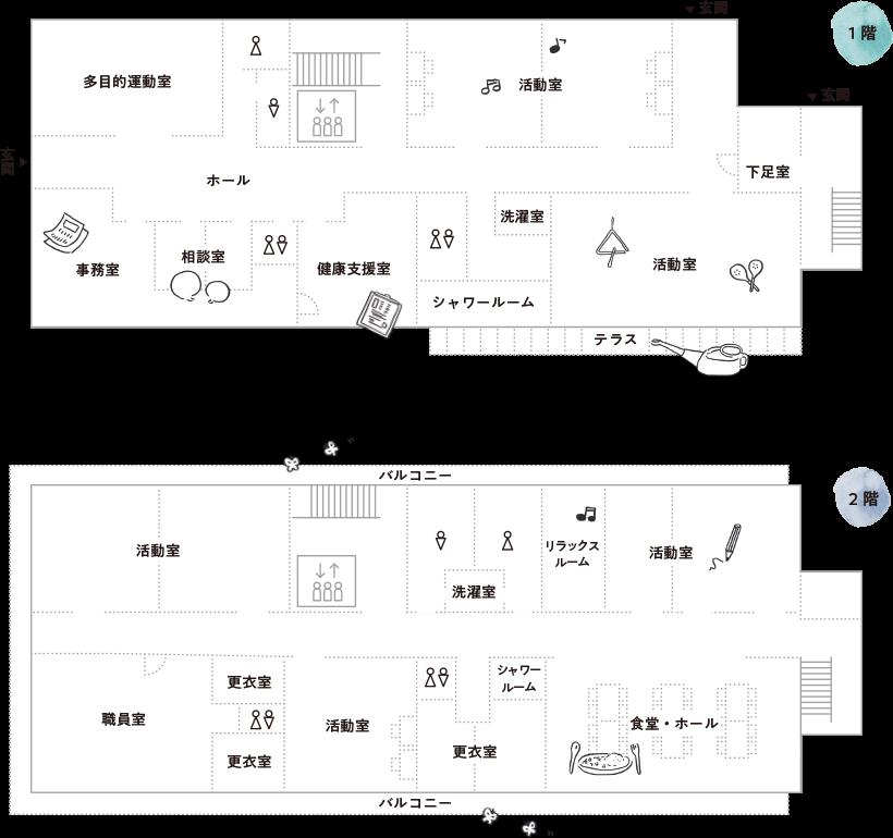 第2乙訓ひまわり園フロアガイド図